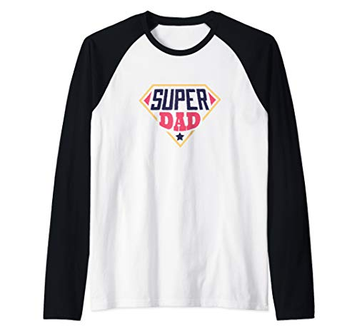 Mens Super Dad Tshirt Vintage Daddy Fathers Day Gift Idea Present Raglan Baseball Tee