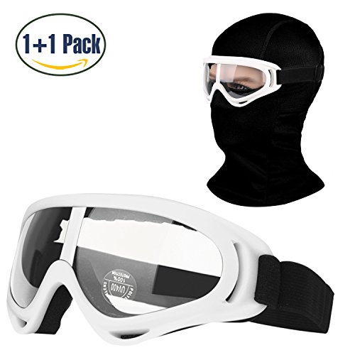 Balaclava & Ski Goggles Sets, Ultralight Balaclava Face Mask Windproof Ski Hood + UV400 Protection Anti-fog Ski Goggles for Cycling Biking Ski and Snowboard (Snowboarding Set Women)
