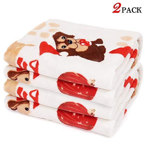 LUXMO 2 Pack Pet Blanket Warm Cats Dogs Sleep Mat Pad Bed Cover Sofa Blankets for Kitten Puppy and Other Small Animals…