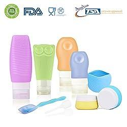ieGeek Set di 10 bottiglie da viaggio in silicone con astucci protettivi  colorati con Approvazione TSA (USA) Sapone viaggio trucco per aereo  dentifricio gel ... d1747036118