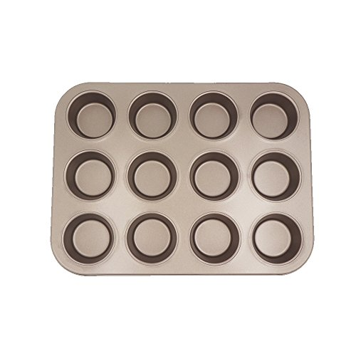 Recipe Right Nonstick 12-Cup Regular Muffin Pan, Heavy-duty Carbon Steel Cupcake Pan FDA Approved, Oven Roasting Baking Mini Loaf Mold, 13.8