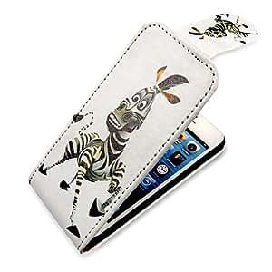 Mini - Cartoon Zebra Up-Down Turn Over PU Leather Full Bady Case for iPhone 5/5S