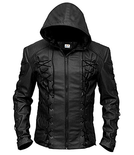 ST Hooded Leather Jacket Men Stephen Amell Roy Harper Red Green Arrow Faux Slim Fit Big Tall Boys Kids