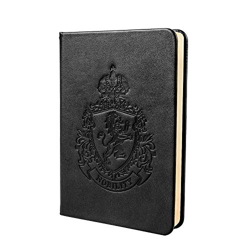 Shemist Hardcover Notebook in Premium Parchment Paper (Vintage Gold) - Embossed Faux Leather Journal with Elastic Closure, Size: 5×7 Inches, Black