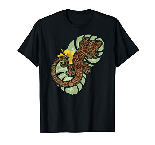 Gecko With Tribal Tattoo Pattern - Tropical T Shirt