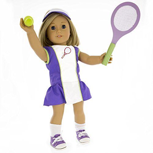 Tennis Outfit for American Girl Dolls: 6 Pc (Dress, Hat, Racket, Ball, Socks and Shoes)