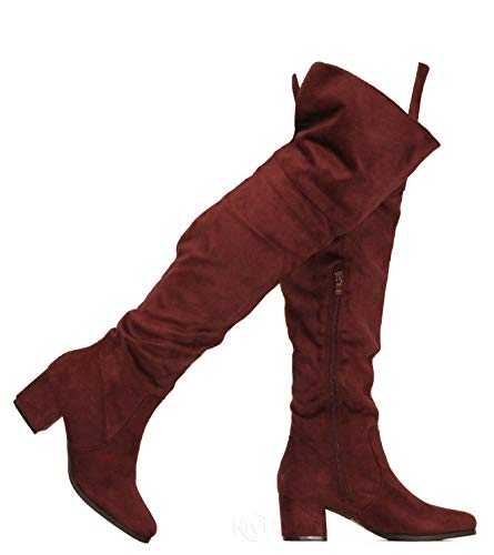 MVE Shoes Women's Over The Knee Stretch Boot - Trendy Low Block Heel Shoe - Sexy Over The Knee Pullon Boot - Comfortable Easy Heel Boot, Burgundy Size 9