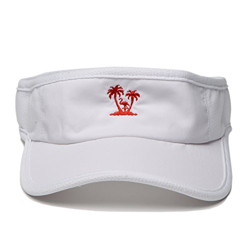 One Size Women Twill Cotton Visor Embroidered Custom Sports Hats (palm tree white) (Cotton Embroidered Visor)