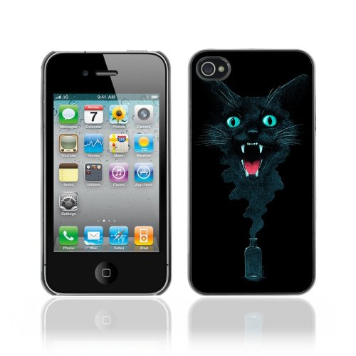 Designer Depo Hard Protection Case for Apple iPhone 4 4S / Cool Ink Cat Abstract Painting
