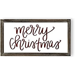 Sweet Water Decor Merry Christmas Wood Sign | Holiday Decorations Gift for Her Farmhouse Frame Wooden Wall Art Plaque Signs with Sayings and Quotes Rustic Home Decor Xmas Decoration Decorative