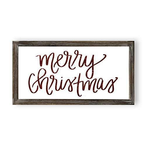 Merry Christmas Wood Sign | Holiday Decorations Gift for Her Farmhouse Frame Wooden Wall Art Plaque Signs with Sayings and Quotes Rustic Home Decor ()