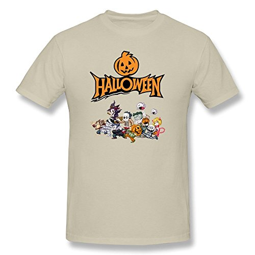 DASY Men's O Neck Happy Halloween Pumkin Jack-O-Lantern Tees Large Natural