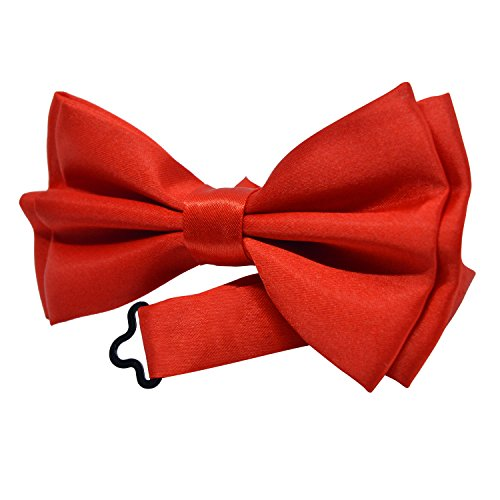 Bow Tie for Kids - Boys Girls Stylish Pre-Tied Bow Ties - Solid Color Adjustable BowTies by Action Ward (Red)