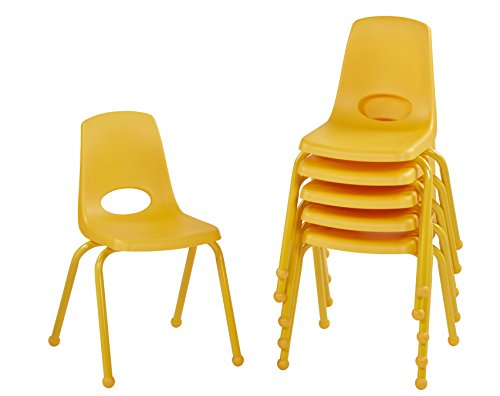 ECR4Kids 16'' School Stack Chair with Powder Coated Legs and Ball Glides, Yellow (6-Pack) by ECR4Kids