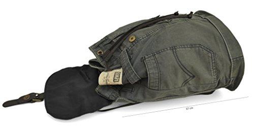 de à loisirs ville noir Kaki Pièces Made Vachette uniques Format de washed Denim in cours Dos Italy de A4 Recyclé Toile brut stone Cuir Denim Sac de Jean Yqwd0Y