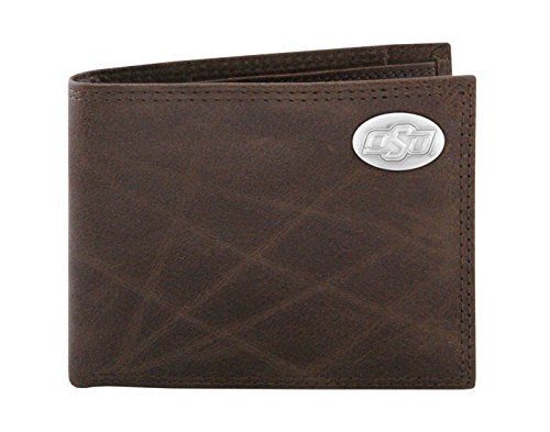 NCAA Oklahoma State Cowboys Zep-Pro Wrinkle Leather Bifold Concho Wallet, Brown (Oklahoma State Brown Leather)