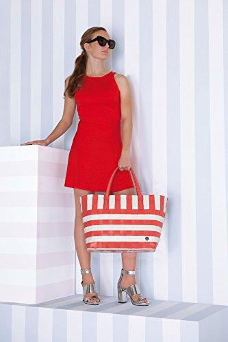Handed By - Breeze Shopper - Einkaufskorb - Tasche - rot - weiß