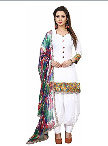 0b369015c2f Krishav Enterprise Women s Traditional Cotton Salwar Suit with Chiffon  Dupatta (KR008