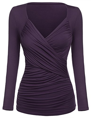 Women's Ruched Top Blouse, Long Sleeve Cross Front V Neck Empire Waist T-Shirt (X-Large, Purple)