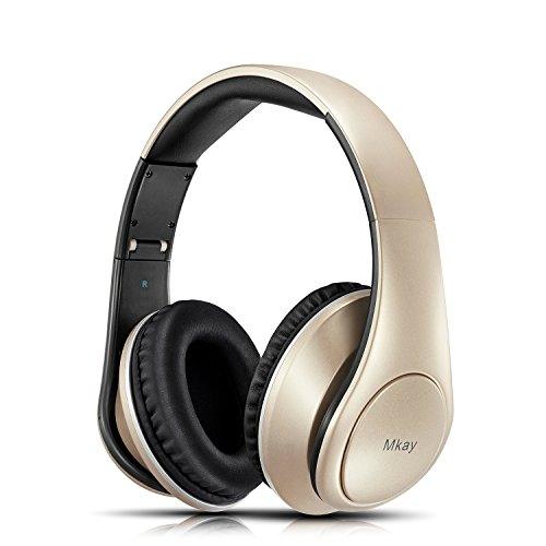 Bluetooth Headphones Over Ear, Mkay Wireless Stereo Headset V4.2 with Deep Bass, Foldable & Lightweight, Perfect for Cell Phone/TV/PC/Travelling (Gold)