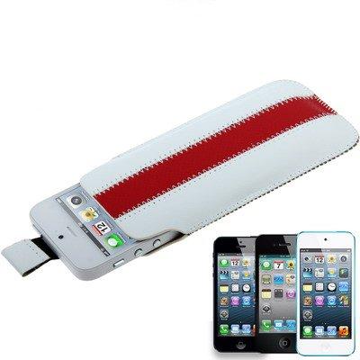 iPhone 5S / 5 Premium Kunst-Ledertasche / Tasche in rot / weiß aus hochwertigem Lederimitat -Original nur von THESMARTGUARD-
