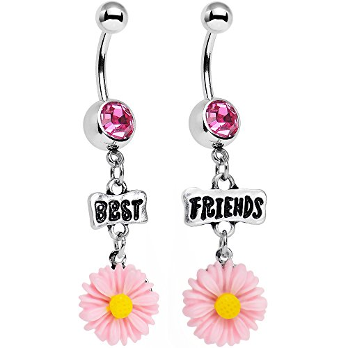 Body Candy Stainless Steel Pink Accent Best Friends Pink Flower Dangle Belly Ring Set