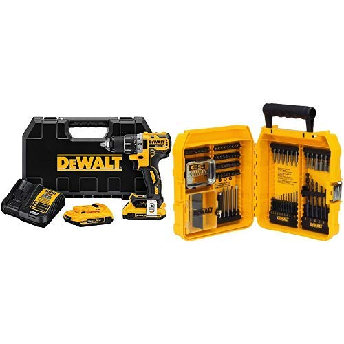 "DEWALT DCD791D2 20V MAX XR Li-Ion 0.5"" 2.0Ah Brushless Compact Drill/Driver Kit with DEWALT Drill/Driver Set, 80-Piece (DW2587)"