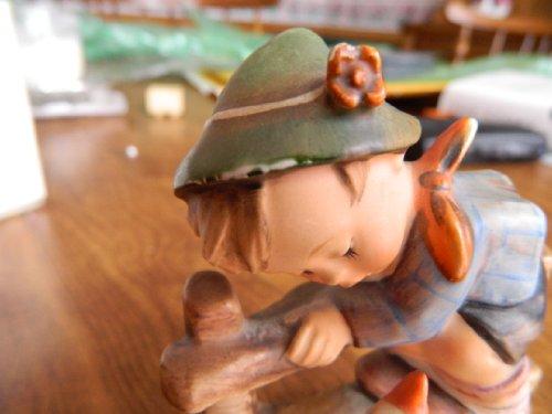 "Review Hummel Goebel figurine 195 ""Barnyard Hero"" Boy with Goose dated 1948"