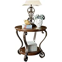 Ashley Furniture Signature Design - Nestor End Table - Traditional Vintage Style - Round - Medium Brown