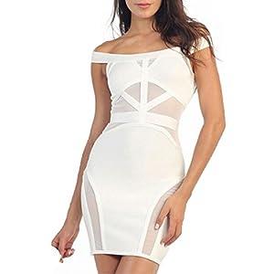 Whoinshop Women's Sexy Mesh Off Shoulder Cocktail Bandage Dress