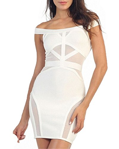 Whoinshop Women's Sexy Mesh Off Shoulder Cocktail Bandage Dress white L by Whoinshop