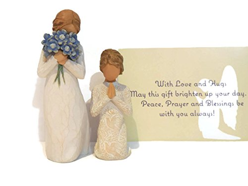 Willow Tree Forget Me Not Figurine Bundle With Willow Tree Prayer of Peace Statue. An Ideal Sympathy-Condolence Gifts For Loss Of Mother/Father/Loved One