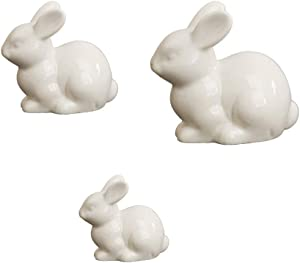 IMIKEYA 3pcs Ceramics Bunny Figurine Easter White Bunny Figurines Home Decor Rabbits Ornaments for Home Easter Garden Micro Landscape Decor, S/M/L