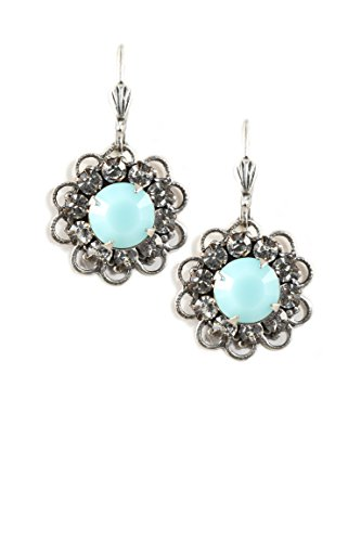 Clara Beau Bright Blue Swarovski Glass Crystal Silvertone Flower Earrings EAM132]()
