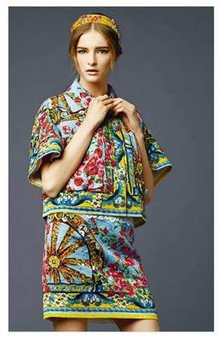 Russo Tessuti Tessuto Abbigliamento Moda Donna Raso Sicily Sicilia DG MODULO Ruota 70x140 cm