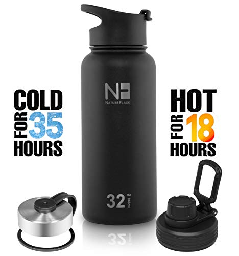 Nature Flask - Water Bottle Stainless Steel, Vacuum Insulated Water Bottle, Insulated Water Bottle, 3 Bonus Lids Wide Mouth, Double Walled, Simple Thermo Modern (MidBlack, 32 Ounce)