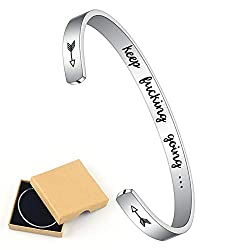 M Mooham Inspirational Cuff Bracelet For Women 316l Stainless Steel Engraved Mantra Quote Silver Cuff Bracelet Keep Going Motivational Jewelry Gifts For Women Men Kids Birthday Friendship Gifts