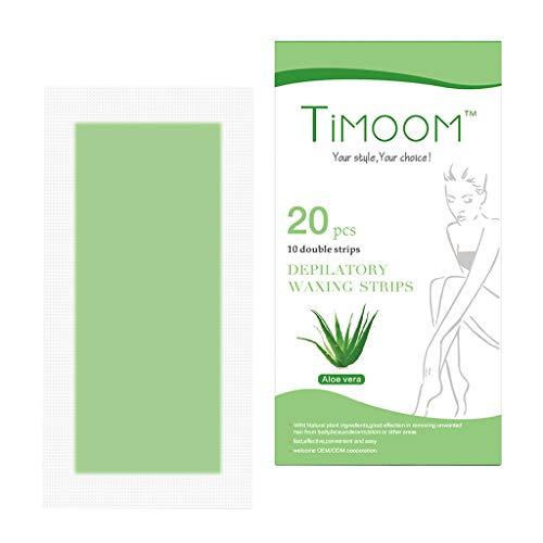 Prettyia 20Pcs/Pack Aloe Honey Leg Arm Body Facial Hair Double Side Hair Removal Cold Wax Strips Paper Non-woven for Women Men Safe Easy - Aloe