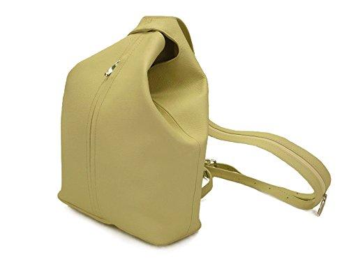 Leather city-bag, backpack and sling bag, green beige, zippered shoulder straps