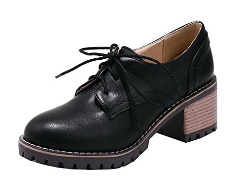 VogueZone009 Women's Round Closed Toe Lace-up PU Solid Kitten-Heels Pumps-Shoes Black 7sP5VFs59