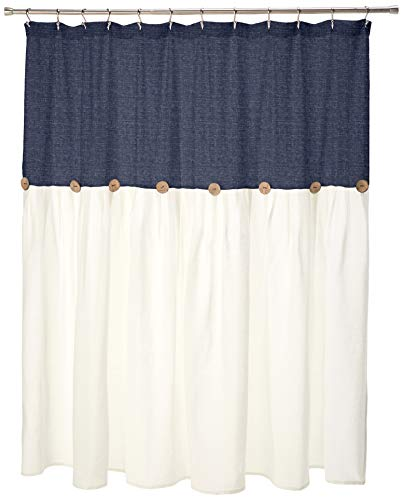 Lush Decor Linen Button Shower Curtain, 72