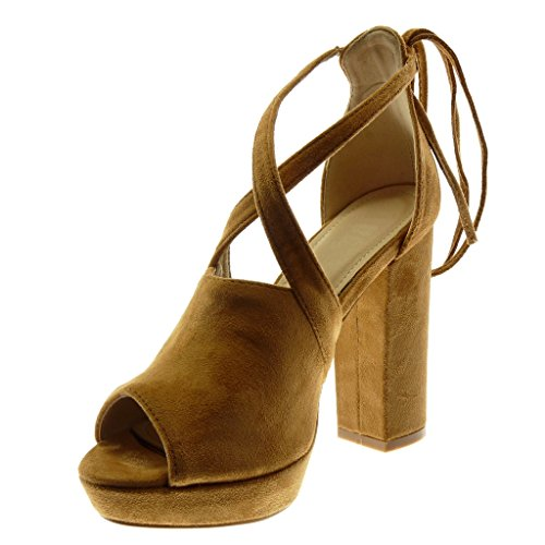 High Crossed Toe Camel Angkorly cm Ankle Peep Strap Heel Women's Thongs Fashion Shoes Block Mules Sandals 5 11 Platform v4BOwv