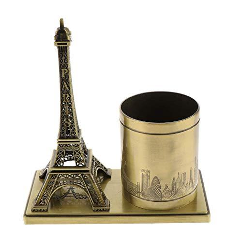 PROW Bronze Metal Famous Buildings Eiffel Tower Model Sculpture Pen Holder Plating Pencil Pen Case Holder Home Office Desk Decoration Statue Student Gift (Bronze)