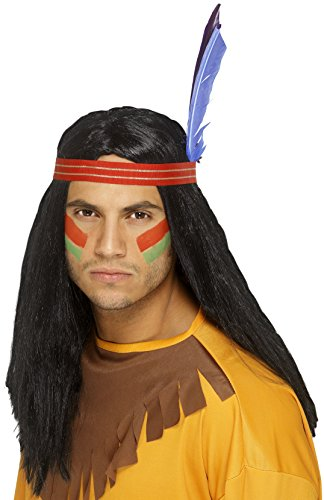 Indian Halloween Costumes For Men (Smiffy's Men's Native American Indian Wig, Long Black Hair with Headband and Feather, One Size, 42189)