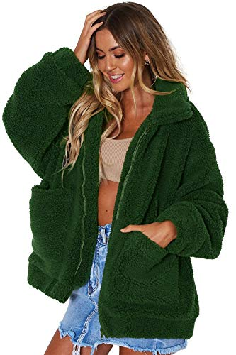 Miss Floral? Womens Oversized Faux Fur Teddy Bear Coat 6 Colour Size 8-18 Green