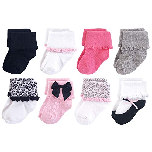 Luvable Friends Baby Basic Socks, Dressy Pink and Gray 8Pk, 6-12 Months