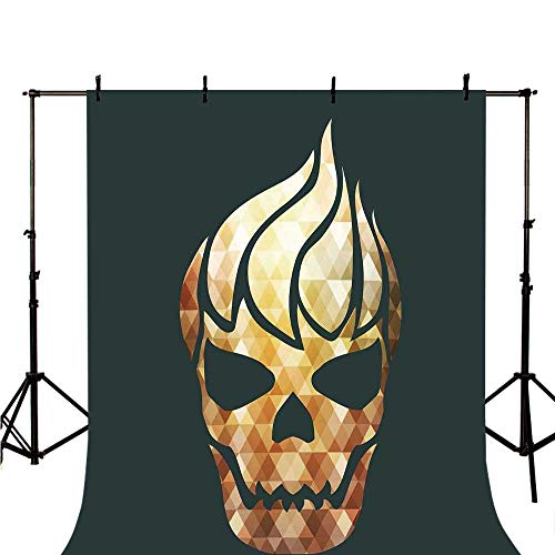 Modern Stylish Backdrop,Gothic Skull with Fractal Effects in Fire Evil Halloween Concept for Photography,98.4