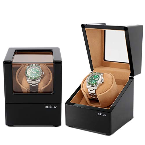 Winder Watch Slot (Driklux Automatic Single Watch Winder for Men Rolex Winder with Quiet Motor,Premium Solid Wood Exerior and Soft Flexible Watch Pillows of Camel Velvet)