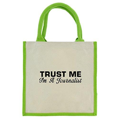 Trust Me I m A Journalist in schwarz print Jute Midi Einkaufstasche mit Grün Griffe und Besatz