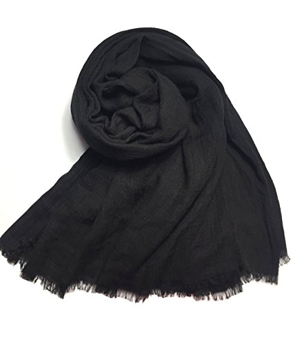 MolVee Unisex Linen Scarf Solid Color Sunscreen Shawl Large Beach Towel (Black Linen Scarf)